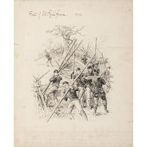 The Fate of the Rail Fence, Pen and Ink Sketch by Alfred R. Waud