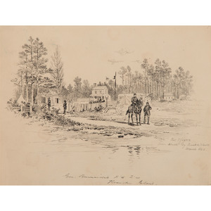 Camp Kitchen and General Burnside's Headquarters, Pen and Ink Sketches by Thomas Hogan