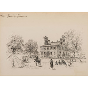 Harrison House, Pen and Ink Sketch by Alfred R. Waud