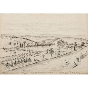 Edwin Forbes, Pen and Ink Sketch of the Army of Northern Virginia Crossing the Potomac, Ca 1875