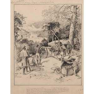 William Ludwell Sheppard, after W.D. Washington, Pen and Ink Sketch Depicting a Detachment from Floyd's Command at Gauley Bridge, WV