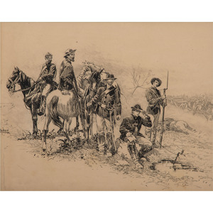 Telegraphing in the Field, Original Pen and Ink Sketch by I. Walton Taber
