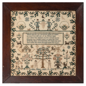 English Needlework Sampler with Adam and Eve Motif