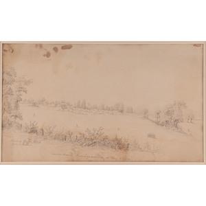 Edmund Pietsch, 14th Regiment NYSM, Penciled Sketch of Camp Wood Headquarters