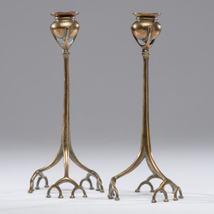 Tiffany Studios Bronze Root Candlesticks