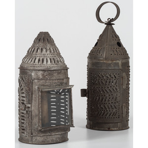 Two Punched Tin Candle Lanterns
