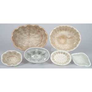 Six Ironstone Food Molds Including Examples by Wedgwood and Copeland