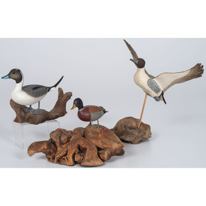 Miniature Waterfowl Carvings, Including One by Waterfield