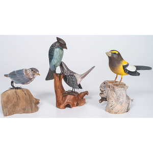 Three Songbird Carvings, Including One by Stan Sparre