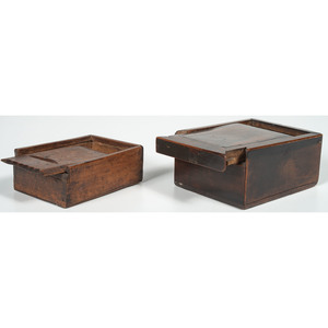 Two Wooden Slide Boxes