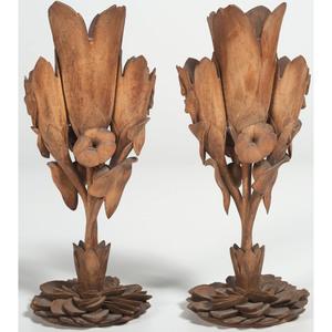 Carved Wood Floral Vases