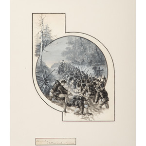 John R. Chapin, Watercolor and Gouache Depicting Soldiers Slogging through Mud