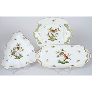 Herend Porcelain Trays and Bowl, Rothschild Bird