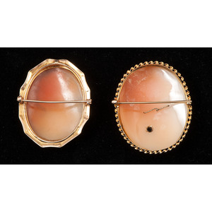 14k Gold Cameos Brooches, Lot of Two