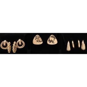 14k Gold Earrings, Lot of Five