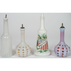 Milk Glass Barber Bottles