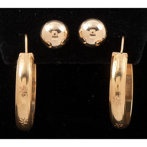 14k Gold Graduated Bead Necklace, Two Pairs of Earrings