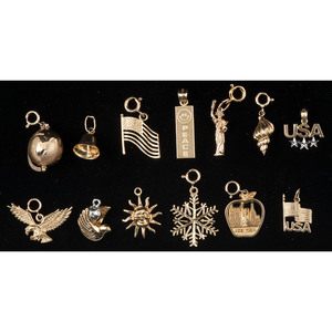 Gold Charms, Lot of Eleven PLUS