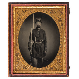 Exceptionally Clear Quarter Plate Tintype of a Triple-Armed Union Soldier, Possibly Massachusetts