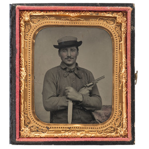 Sixth Plate Tintype of a Double-Armed Dandy Posed with a Colt and Bowie Knife