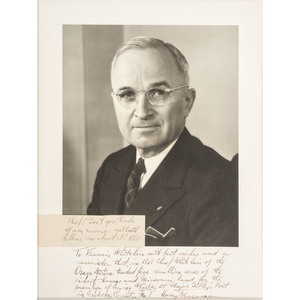Harry S. Truman Typed Letters Signed and 1949 Inauguration Ephemera, From the Whitehair Collection