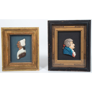 Wax Profiles of a Man and a Woman