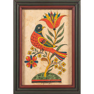 Folk Art Watercolor of a Bird by David Ellinger