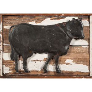 Molded Copper Bull Mounted to Board with White Paint