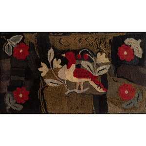 Hooked Rug with Bird and Stump Work Wreath