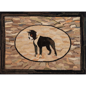 Hooked Rug with Boston Terrier