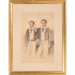 Watercolor Portrait of Two Brothers