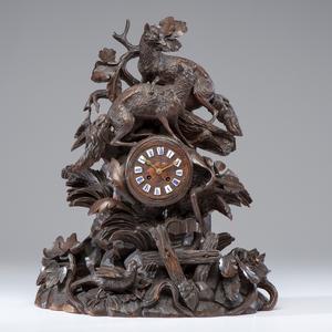 German Black Forest Carved Clock