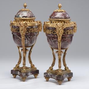 Louis XVI-style Marble Garniture Urns