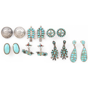 Colection of Navajo and Zuni Silver and Turquoise Earrings