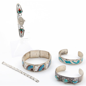Zuni, Navajo, and Mexican Silver Inlaid Bracelets and Watch Band