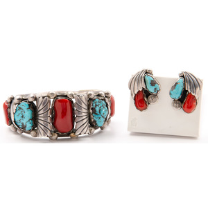 Navajo Silver, Turquoise, and Coral Cuff Bracelet and Earrings