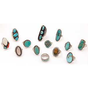 Assortment of Navajo and Southwestern Silver and Turquoise Rings