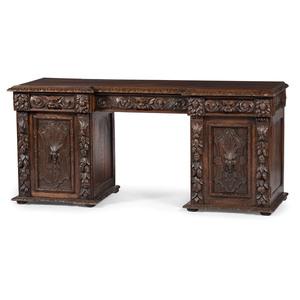 Continental Northwind Carved Oak Desk
