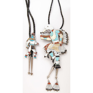 Zuni Channel Inlay Dancer Bolo Ties