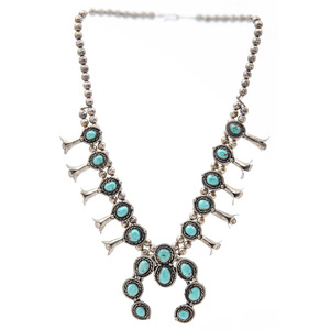 Small Navajo Silver and Turquoise Squash Blossom Necklace