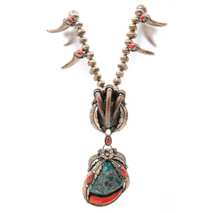 Navajo Silver, Turquoise, Coral, and Claw Necklace
