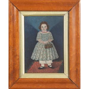 English Folk Art Portrait of a Girl with Purse