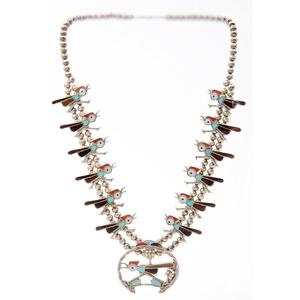 Zuni Channel Inlay Roadrunner Squash Blossom Necklace
