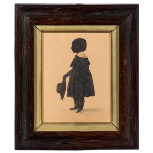 Silhouette of a Boy Holding a Hat