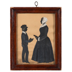 Silhouettes of Boy and Woman Holding Books