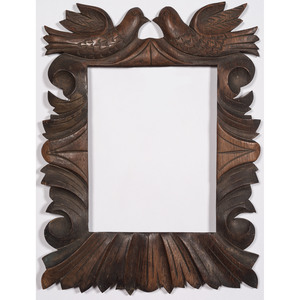 Tramp Art Mirror and Folk Art Carved Frame with Doves