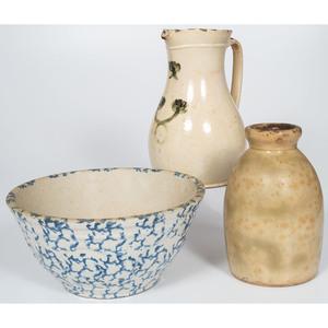 Canadian Stoneware Pitcher, Spatterware Bowl and Stoneware Jug