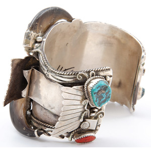Large Silver Cuff Watch Band with Turquoise, Coral, and Claws