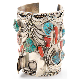 Jerry Roan (Dine, 20th century) Large Navajo Silver, Turquoise, and Coral Cuff Watch Band