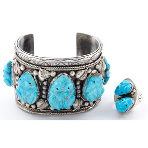 Silver Cuff Bracelet with Carved Turquoise Frogs PLUS